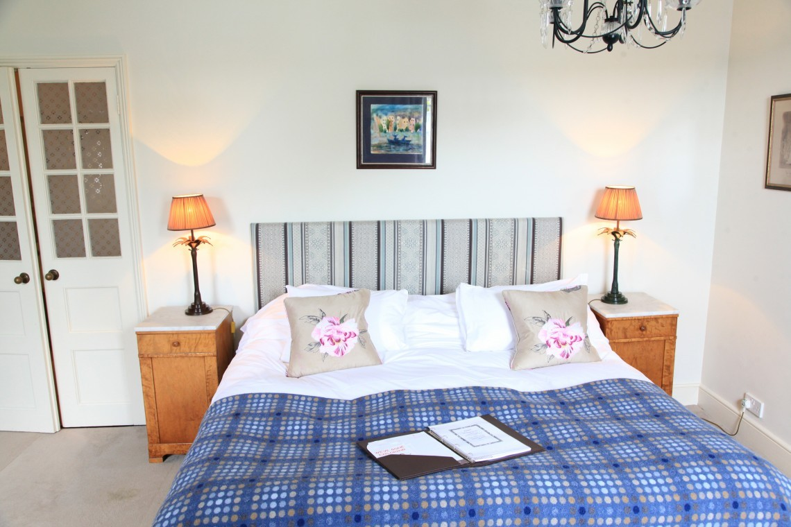 A double bedroom at Moonfleet Manor hotel.