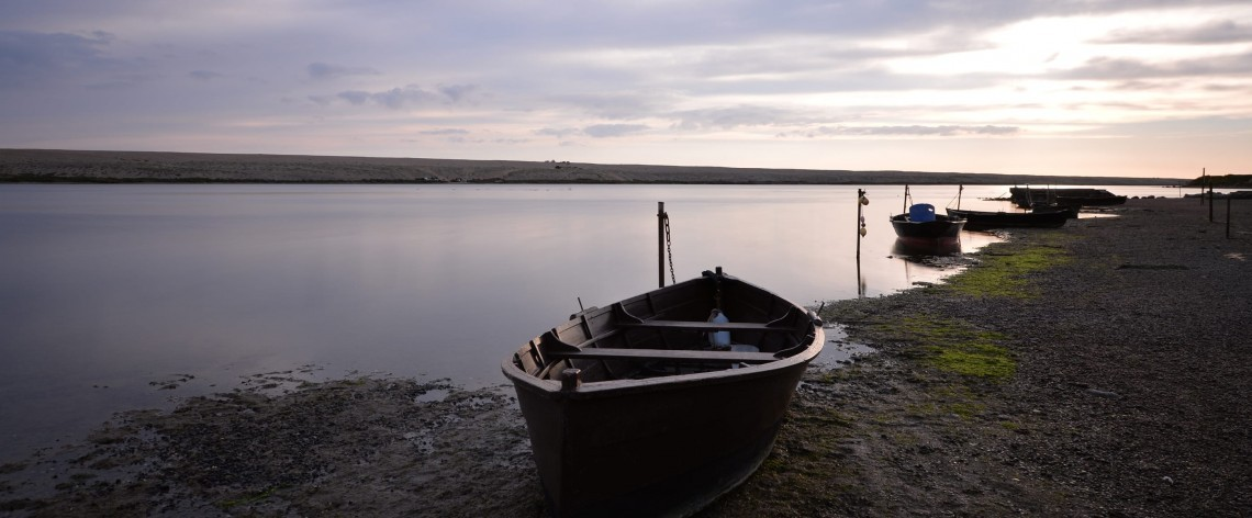 Rowing boat by the sea in Dorset