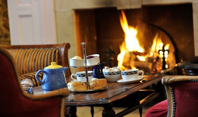Afternoon tea beside the fire at Moonfleet Manor