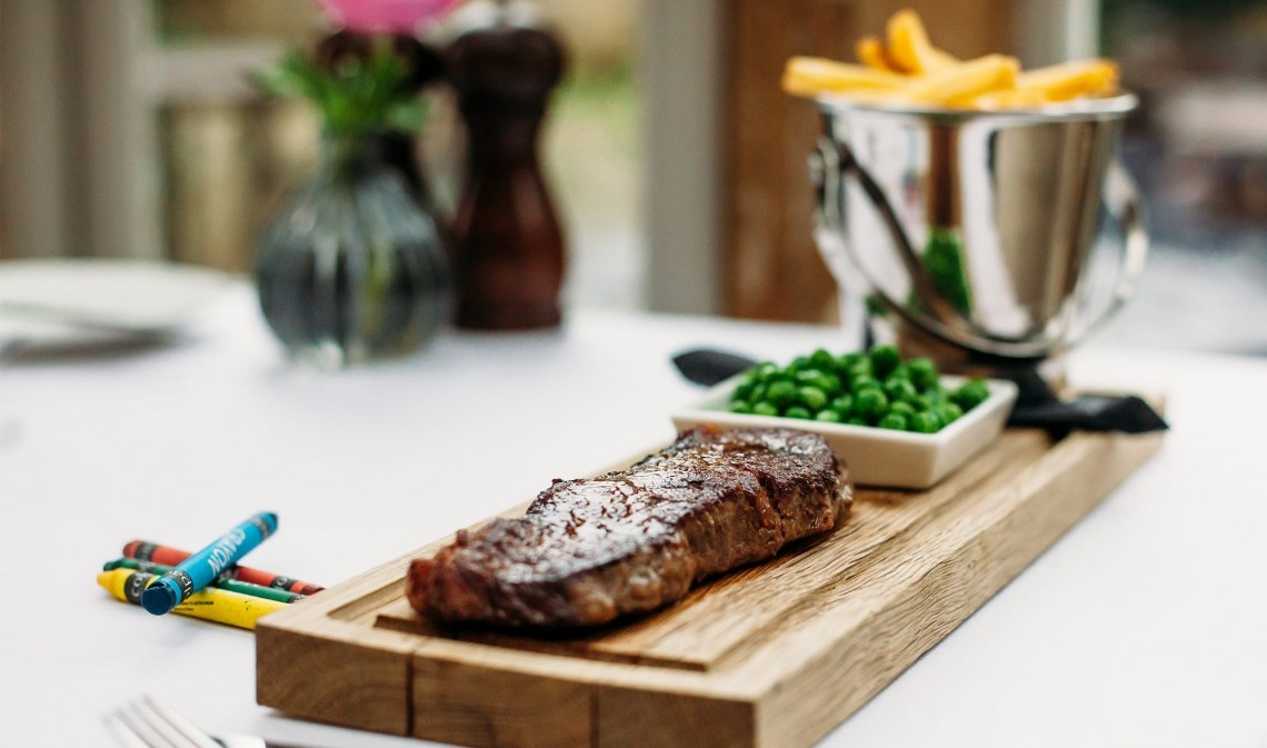 Steak and chips at Moonfleet Manor luxury family hotel in Dorset