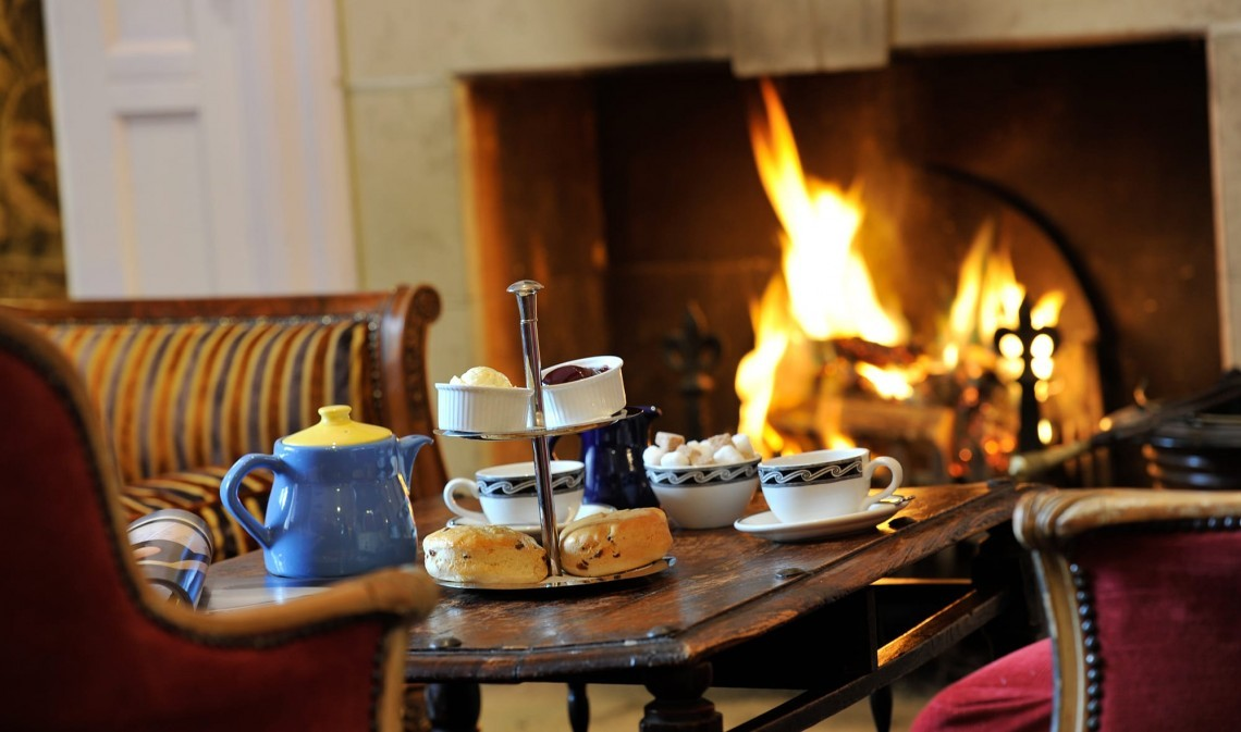 Afternoon tea in Dorset at Moonfleet Manor hotel.