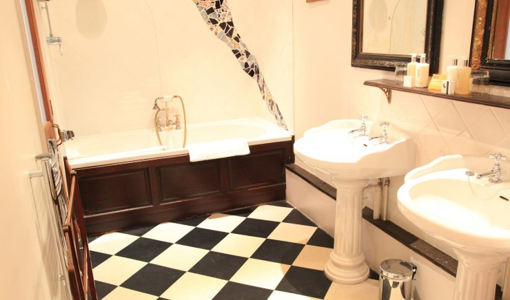 Bathroom in a family double bedroom at Moonfleet Manor country hotel.
