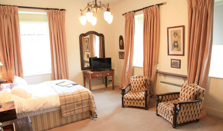 Family double bedroom at Moonfleet Manor country hotel.